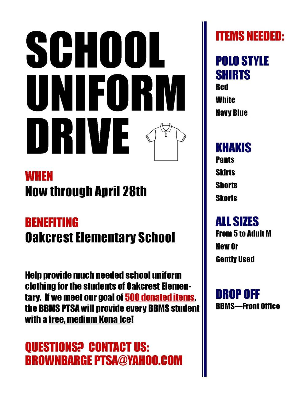 School Uniform Drive Flyer